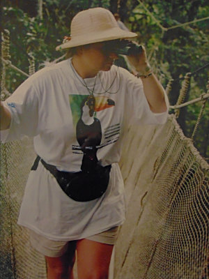Bev on a jungle swing bridge deep in the Amazon looking for toucans